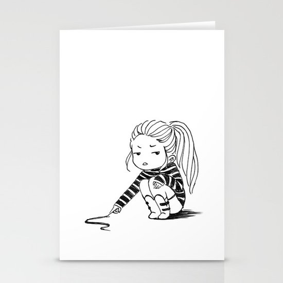 Bored Girl Stationery Card