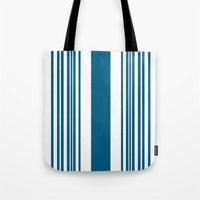 Egyptian Blue and white stripes Tote Bag