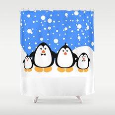 NGWINI - penguin family v3 Shower Curtain