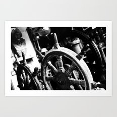 at the helm  Art Print