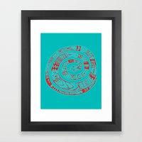 Snake Entwine - red blue folk art pattern  Framed Art Print