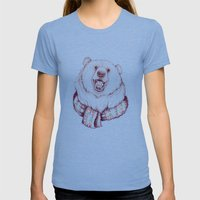 Bear & Scarf Womens Fitted Tee Tri-Blue SMALL