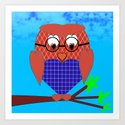 Tartan and Hearts Owl Art Print