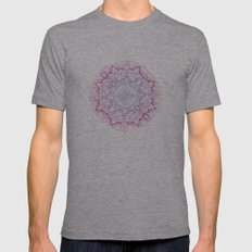 Grey Ombre Mandala Mens Fitted Tee Athletic Grey SMALL