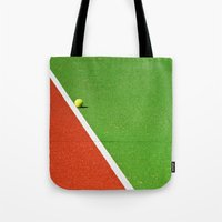 Red, green, white line and yellow tennis ball Tote Bag