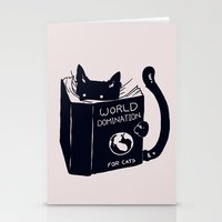 cats Stationery Cards featuring World Domination For Cats by Tobe Fonseca
