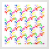 pixel Art Prints featuring Pixel by AJJ ▲ Angela Jane Johnston