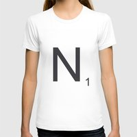 Scrabble N Womens Fitted Tee White SMALL