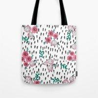 Rose. Illustration, pattern, print, floral design, art, painting, flowers, flower, Tote Bag