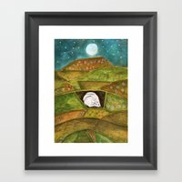 Hare at Pendle Hill Framed Art Print