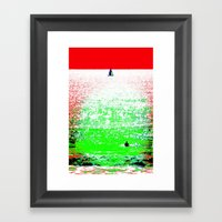 Sailboat And Swimmer (2a… Framed Art Print
