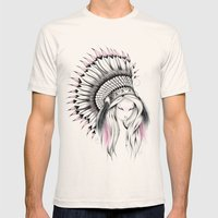 Indian Headdress Pink Version Mens Fitted Tee Natural SMALL