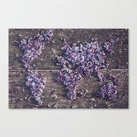 Lilac World Map Canvas Print