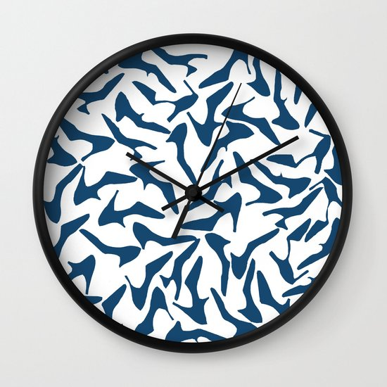 Shoes Navy on White Wall Clock