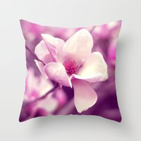 Lonely Flower - Radiant Orchid Throw Pillow