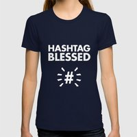 HASHTAG BLESSED  Womens Fitted Tee Navy SMALL