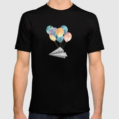 Fly paper plane! Black Mens Fitted Tee SMALL