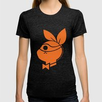 Playboy Turtle: Michelan… Womens Fitted Tee Tri-Black SMALL