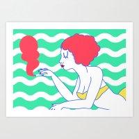 Pool Girl Art Print