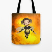 Little Bee Girl Golden Clouds Tote Bag