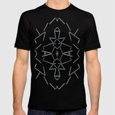 Abstract Lines Black and Silver M Mens Fitted Tee SMALL Black