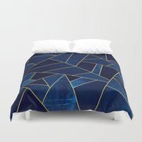 Blue Stone With Gold Lin… Duvet Cover