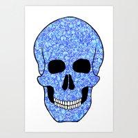 Blue Skull Art Print