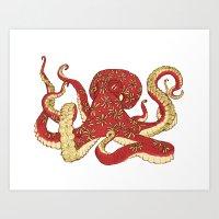 Flowered Octopus Art Print
