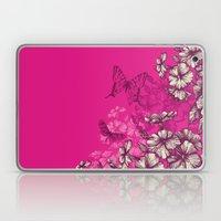 Vintage butterfly wallpaper- magenta Laptop & iPad Skin