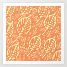 Orange Autumn Leaf Design  Art Print