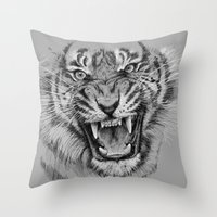 Tiger Drawing Black and White Animals Throw Pillow