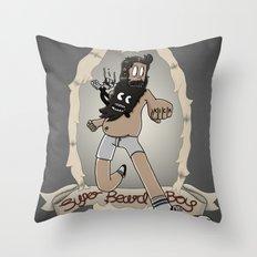 Super Beard Boy - Framed Justice! Throw Pillow