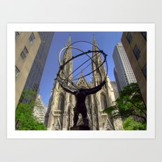 Atlas Statue at the Rockefeller Plaza, Fifth Avenue, New York Art Print