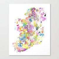 Typographic Ireland - Multi Watercolor Canvas Print