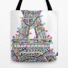 Paris Eiffel Tower Holiday Lights Multi Tote Bag