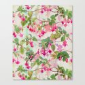 Rainbow Fuchsia Floral Pattern Canvas Print