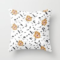 Daisy. Illustration, flowers, print, design, pattern, floral, fashion, drawing, Throw Pillow