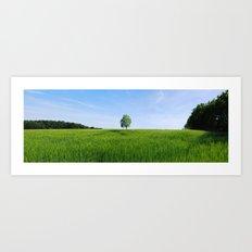 Field and Tree Panorama Art Print