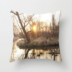 Forest Sunset Throw Pillow