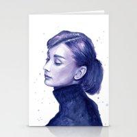 Audrey Hepburn Watercolor Portrait Stationery Cards