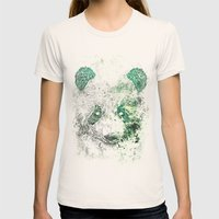 Green Panda Bear Womens Fitted Tee Natural SMALL