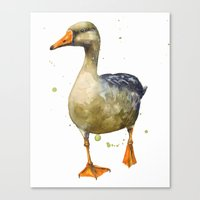 Goose, golden goose, goosey goosey gander, fowl art, farmyard animals, kitchen wall art Canvas Print