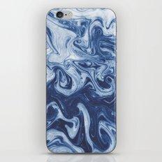 Yutaka - spilled ink marbled paper marbling swirl india ink minimal modern blue indigo pattern iPhone & iPod Skin
