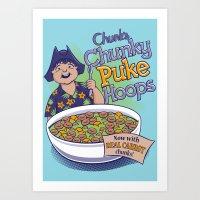 Chunk's Chunky Puke Hoops Art Print