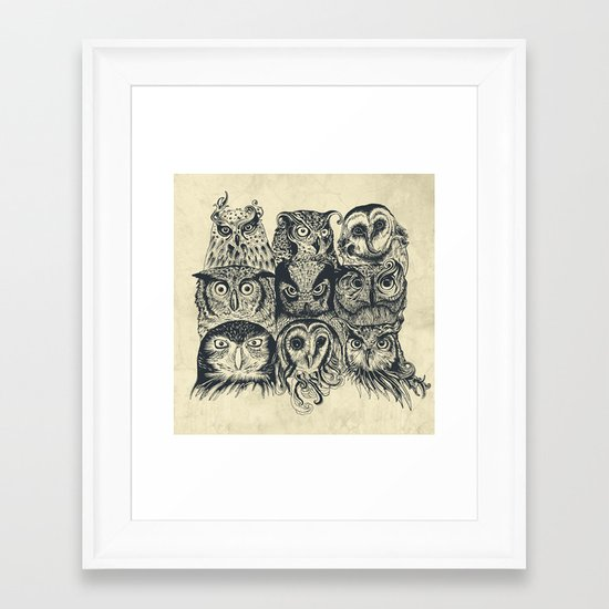 Nine Owls Framed Art Print