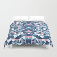 Abstract Collide Blue and Pink Duvet Cover