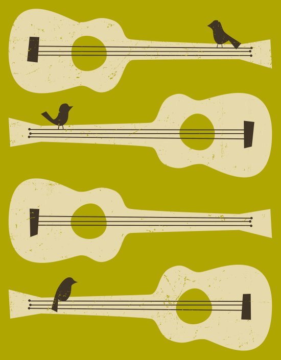 BIRDS ON A GUITAR String Art Print