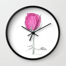 Rose 01 Botanical Flower * Pink Rose Bud: Love, Honor, Faith, Beauty, Passion, Devotion & Wisdom Wall Clock