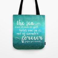 Tote Bag featuring The Sea - Quote From Jac… by Noonday Design