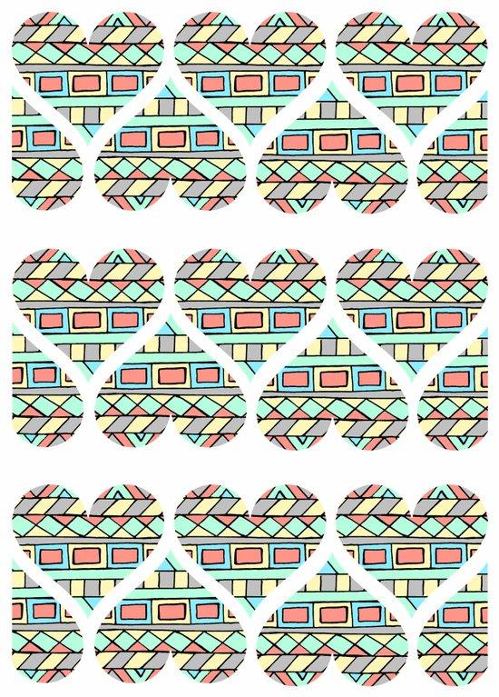 Aztec hearts Art Print